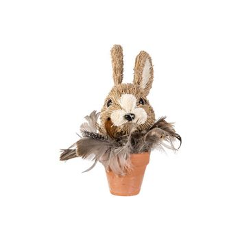 Cosy @ Home Lapin In Pot Feathers Brun 13x13xh15,5cm