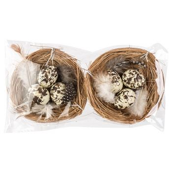 Cosy @ Home Nid Set2 With Eggs Naturel D8cm