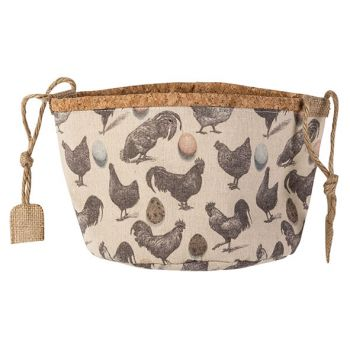 Cosy @ Home Panier Chickens Nature D20xh16cm Textile