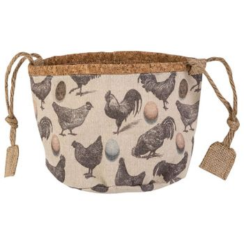 Cosy @ Home Panier Chickens Nature D16xh14cm Textile