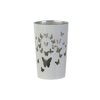 Cosy @ Home Bougeoir Butterflies Blanc D7xh11cm Verr