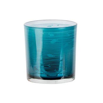 Cosy @ Home Bougeoir Fish Bleu D7xh8cm Verre