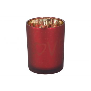 Cosy @ Home Bougeoir Love Gold Rouge D10xh12cm Verre