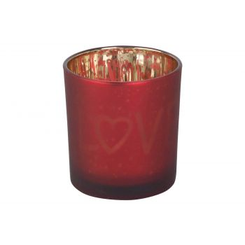 Cosy @ Home Bougeoir Love Gold Rouge D7xh8cm Verre