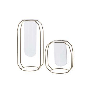 Cosy @ Home Vase Metal Frame Glass Tube D6 H12 Cm Do