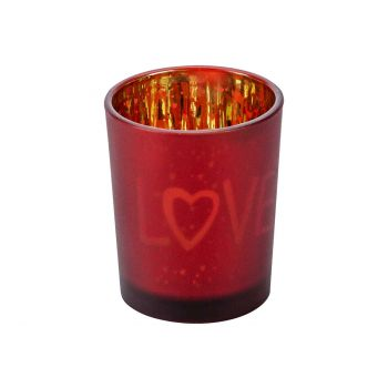 Cosy @ Home Bougeoir Love Gold Rouge D5,5xh7cm Verre