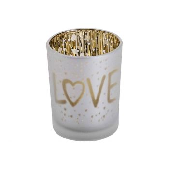 Cosy @ Home Bougeoir Love Gold Blanc D5,5xh7cm Verre