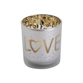 Cosy @ Home Bougeoir Love Gold Blanc D7xh8cm Verre