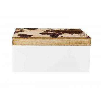 Cosy @ Home Boite Map  Blanc Brun 28x18xh12,5cm Bois