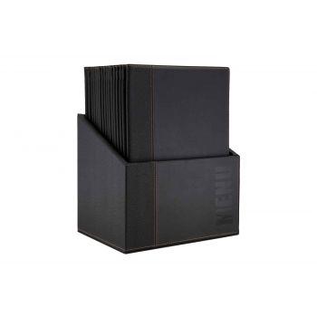 Protège-menus contemporain Securit A4 noir