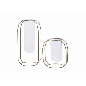 Cosy @ Home Vase Metal Frame Glass Tube D6 H18 Cm Do