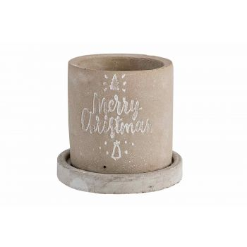 Cosy @ Home Cachepot Merry Xmas With Saucer Gri