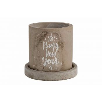Cosy @ Home Cachepot Happy Ny With Saucer Gris