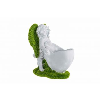 Cosy @ Home Ange Debout Heart Pot Flocked Green Gris