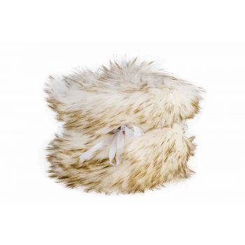 Cosy @ Home Chemin De Table Fur Kaki Blanc 12x200cm