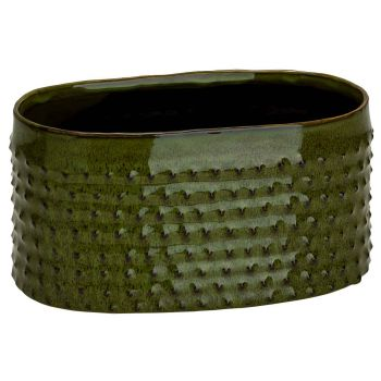 Cosy @ Home Bac A Plantes Glazed Embossed Dots Vert