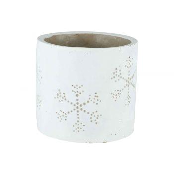 Cosy @ Home Cachepot Snowflake Blanc 11x11xh10,5cm