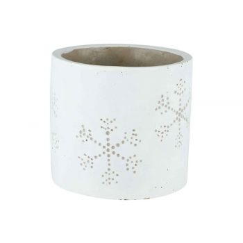 Cosy @ Home Cachepot Snowflake Blanc 14x14xh13cm Cyl