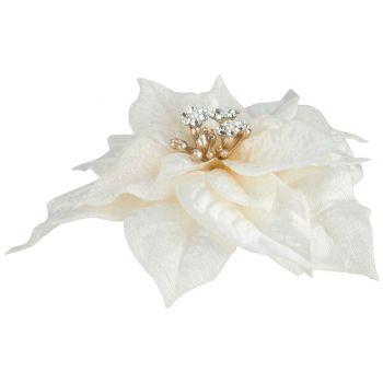 Cosy @ Home Clip Poinsettia Jewel Creme 18x18xh4cm P