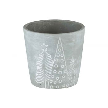 Cosy @ Home Cachepot Xmas Trees Gris 10,8x10,8xh10,8