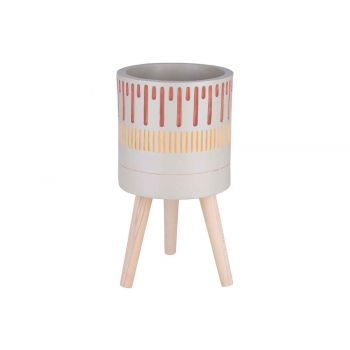 Cosy @ Home Cachepot Cinnamon On 3 Wooden Feet Creme