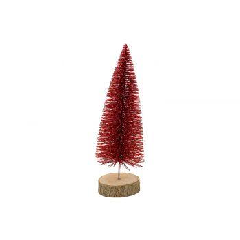 Cosy @ Home Arbre De NoËl Glitter Wood Base Rouge 8x