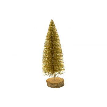 Cosy @ Home Arbre De NoËl Glitter Wood Base Dore 8x8