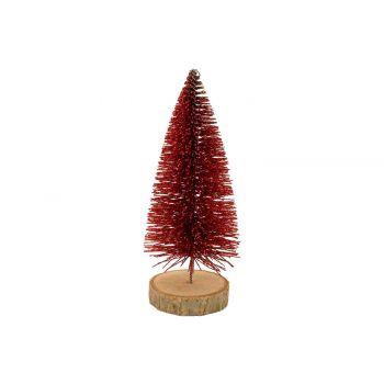 Cosy @ Home Arbre De NoËl Glitter Wood Base Rouge 6x