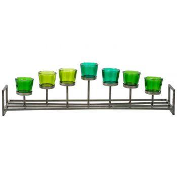 Cosy @ Home Bougeoir Vert 71,5x15xh21cm Metal-verre