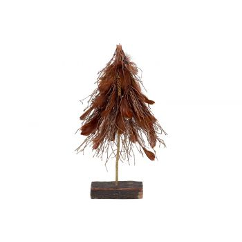 Cosy @ Home Sapin Branches With Feathers Brun 36x15x