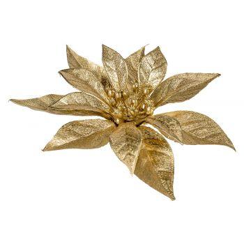 Cosy @ Home Poinsettia Clip Metallic Glitter Dore 18