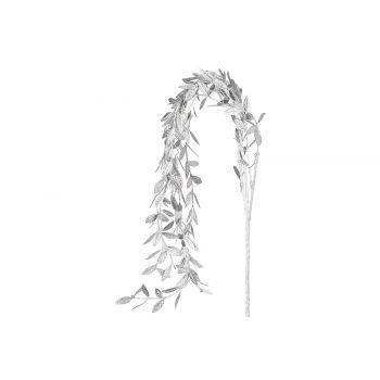 Cosy @ Home Branche Deco Metallic Leaves Argent 5x5x