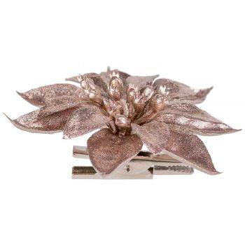Cosy @ Home Poinsettia Clip Metallic Glitter Rose 9x