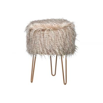 Cosy @ Home Tabouret Feathers Beige 32x32xh42cm Bois
