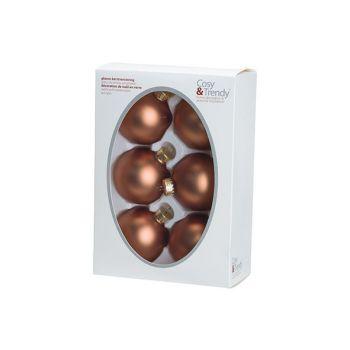 Cosy @ Home Boule Noel Set6 Mat Cannelle D6,5cm Verr