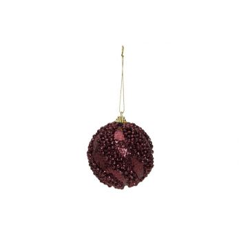 Cosy @ Home Boule Noel Glitter Balls Aubergine D8cm