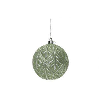 Cosy @ Home Boule Noel Silver Leaves Mint D10cm Plas