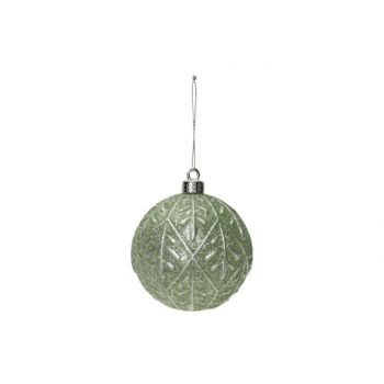 Cosy @ Home Boule Noel Silver Leaves Mint D8cm Plast