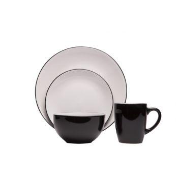 Cosy & Trendy Ancona Black-white Set De Table 16 Pcs