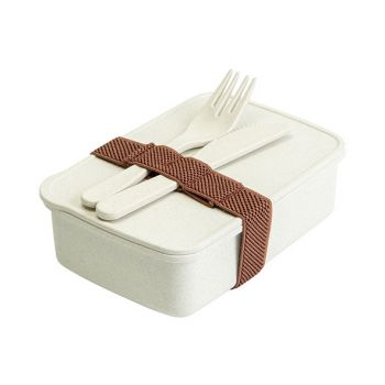 Cosy & Trendy Eco-fibre Lunchbox Cout. Fourch. Blanc