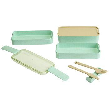 Cosy & Trendy Eco-fibre 3-niveau Lunchbox Vert Cout.