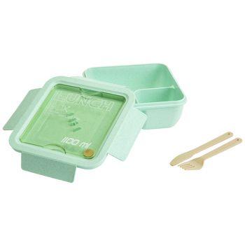 Cosy & Trendy Eco-fibre Lunchbox Vert Couteaux Brun