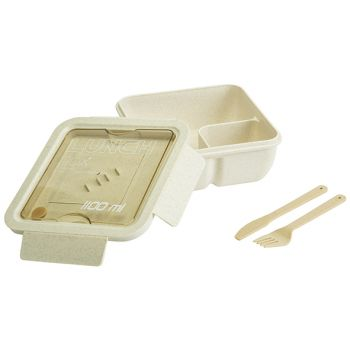 Cosy & Trendy Eco-fibre Lunchbox Blanc Couverts Brun