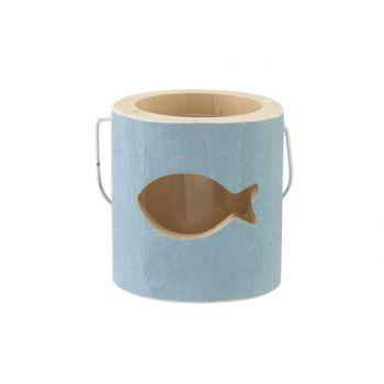 Cosy @ Home Bougeoir Fish Bleu 10x10xh10cm Bois