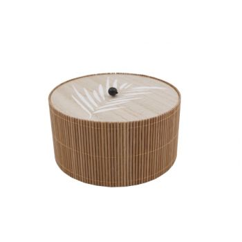 Cosy @ Home Boite Brun 14,8x14,8xh8cm Rond Bois