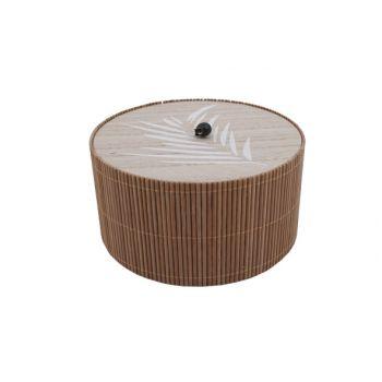 Cosy @ Home Boite Brun 17,8x17,8xh9,5cm Rond Bois