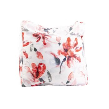 Cosy @ Home Pouf Pink Flowers Blanc 55x55xh38cm Poly