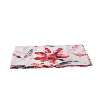 Cosy @ Home Chemin De Table Pink Flowers Blanc 40x14