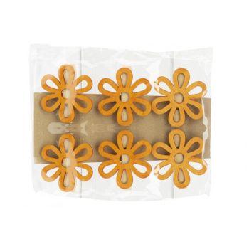 Cosy @ Home Pince Set6 Flower Orange 6x,5xh6cm Bois