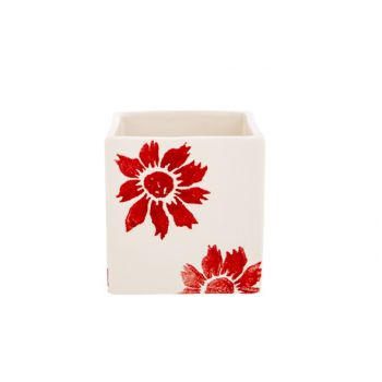 Cosy @ Home Cachepot Flowers Rouge 10x10xh10cm Carre